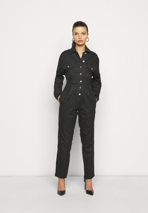 COATED CINCHED WAIST BOILERSUIT - Combinaison - black