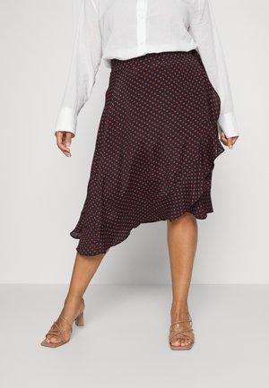 WRAP SKIRT - Wrap skirt - black/red