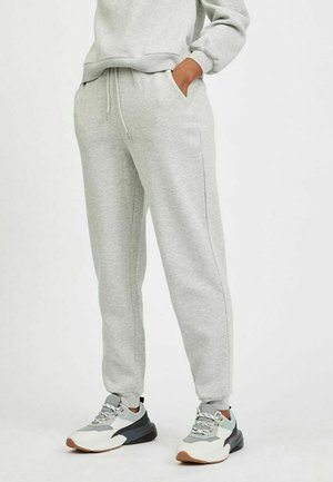 HIGH WAIST - Tracksuit bottoms - super light grey melang