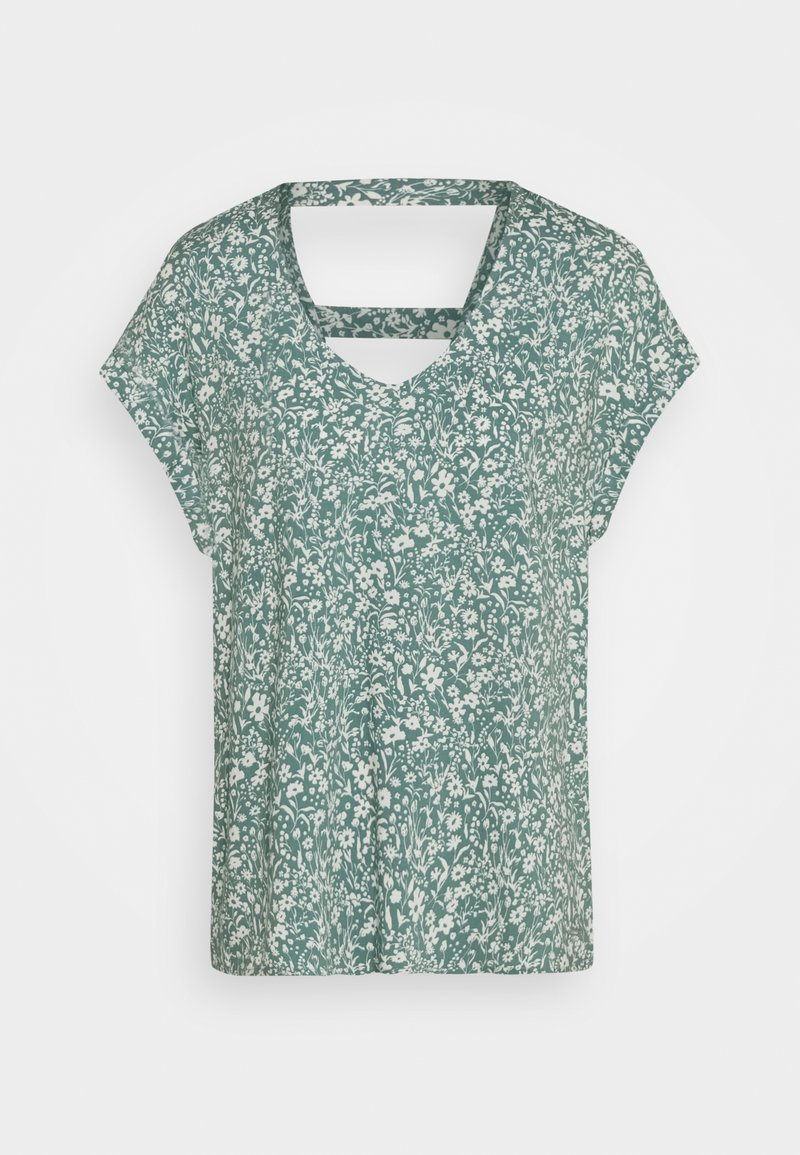 TOM TAILOR DENIM - V NECK  - Print T-shirt - mineral blue