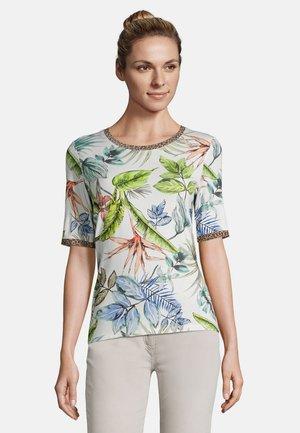 MIT BLUMENPRINT - Print T-shirt - cream/petrol