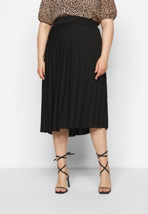 CURVE PLEATED BLACK MIDI SKIRT - A-line skirt - black