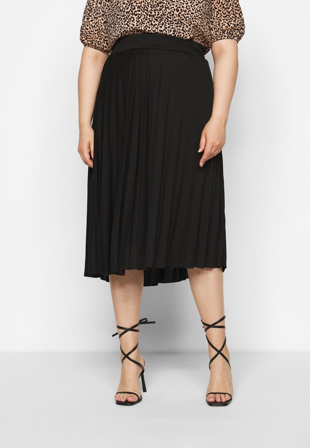 CURVE PLEATED BLACK MIDI SKIRT - A-Linien-Rock - black