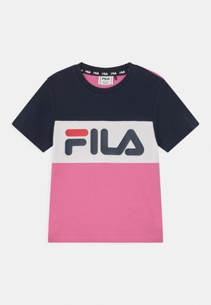 THEA BLOCKED UNISEX - Camiseta estampada - super pink/black iris/bright white