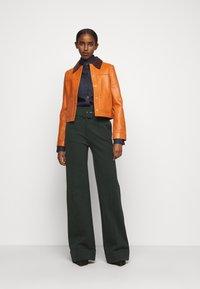Victoria Victoria Beckham - PANNEL JACKET - Leather jacket - congac brown - 1