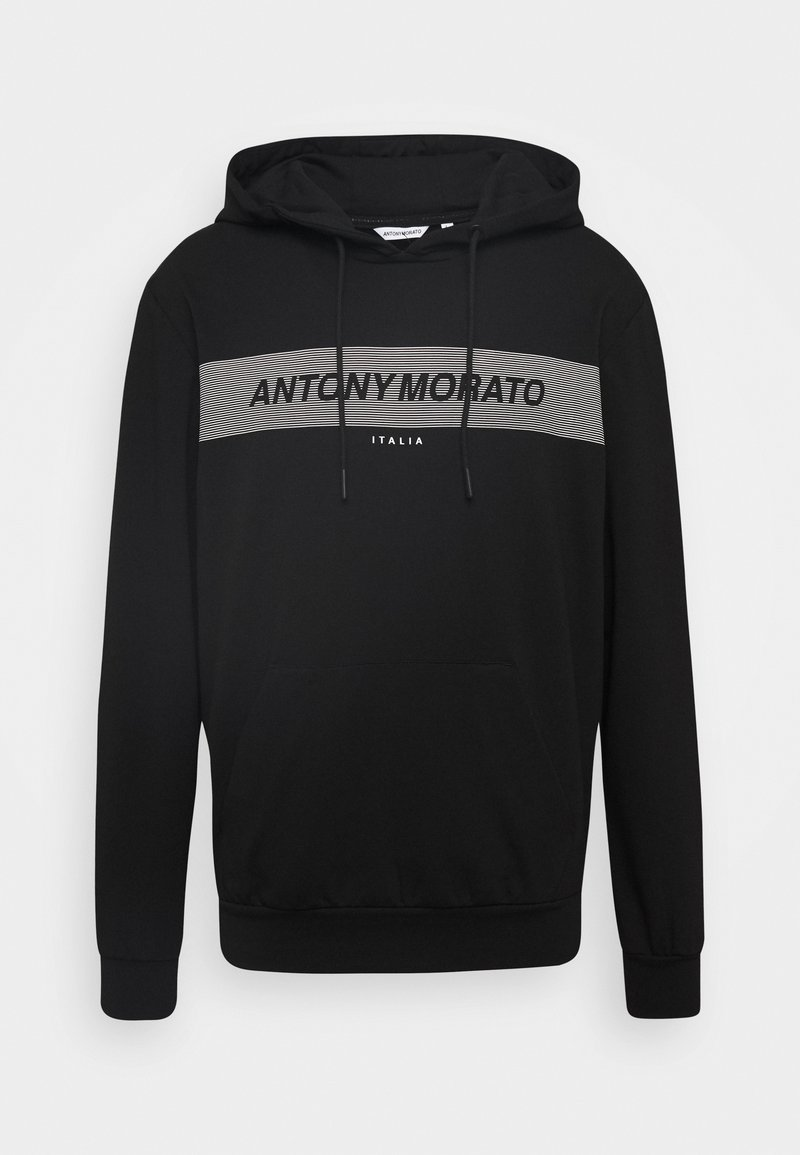 Antony Morato - HOOD FRONT LOGO STRIPED PRINT - Hoodie - black