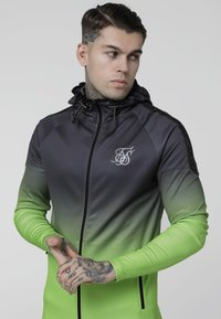 SIKSILK - RAGLAN ATHLETE FADE TAPED HOODIE - Chaqueta de entrenamiento - grey/neon green - 4