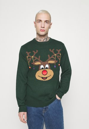 ONSXMAS FUNNY FRONT BADGE  - Strickpullover - pine grove