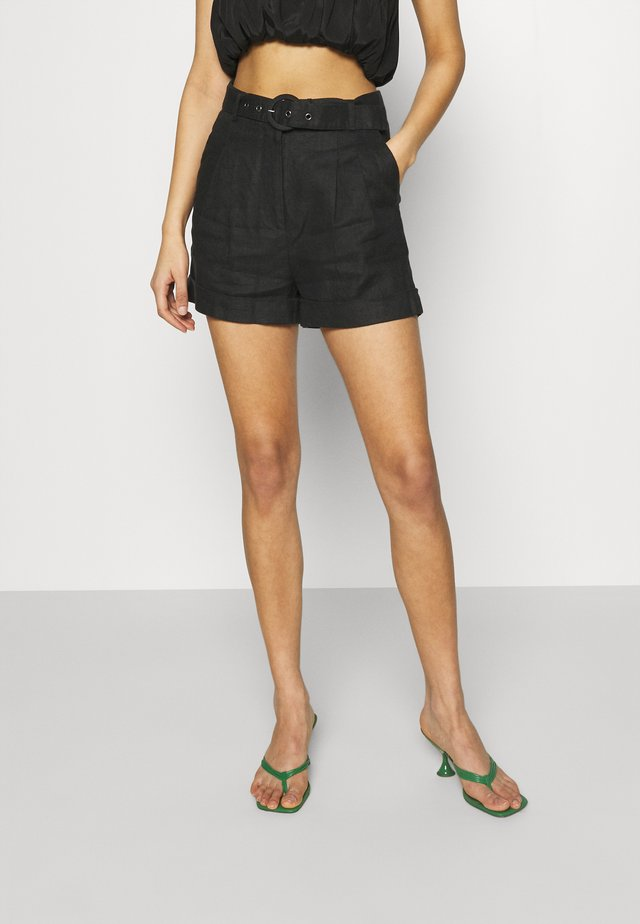 HIGHWAIST BELTED - Shorts - black