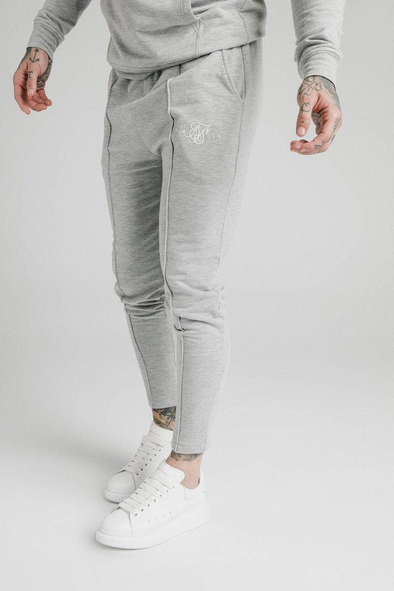 SIKSILK - SMART PLEATED JOGGERS - Pantaloni sportivi - grey marl