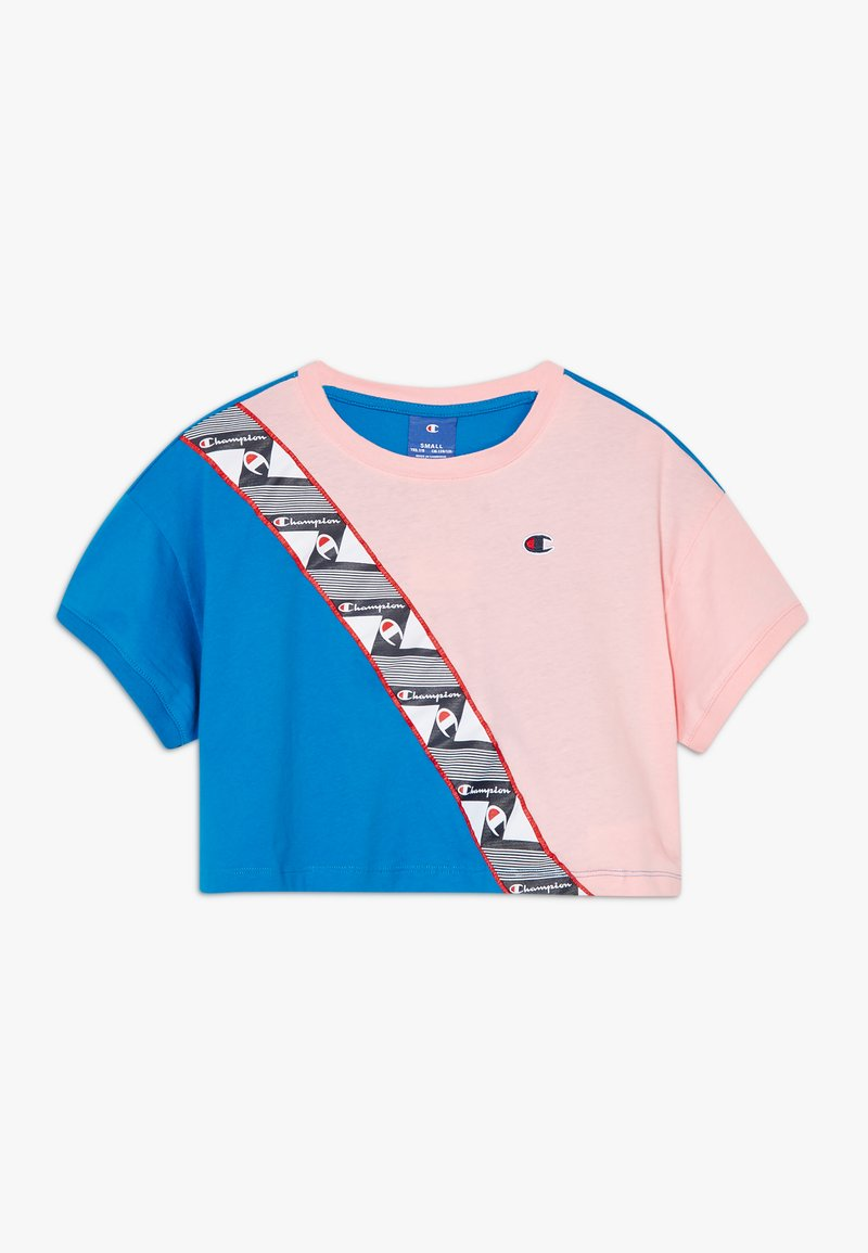 Champion - ROCHESTER BRAND MANIFESTO CROP - Triko spotiskem - royal blue/light pink