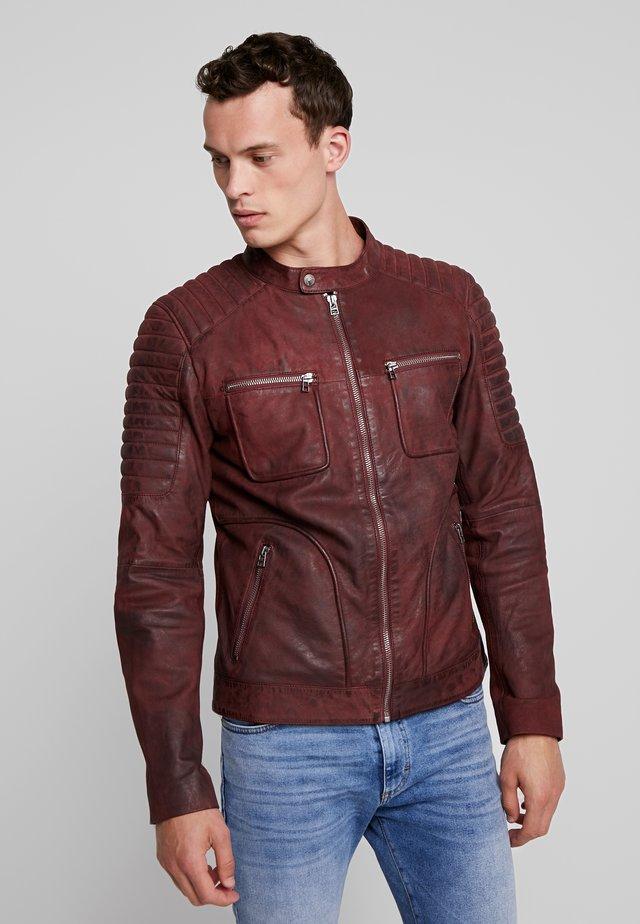 ALWIN BIKER - Veste en cuir - burgundy