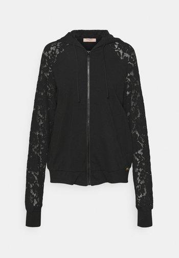 FELPA IN PUNTO MILANO E MACRAME - Zip-up sweatshirt - nero