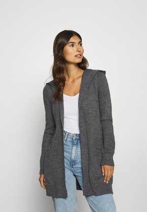 HOODED CARDI - Strikjakke /Cardigans - dark grey melange