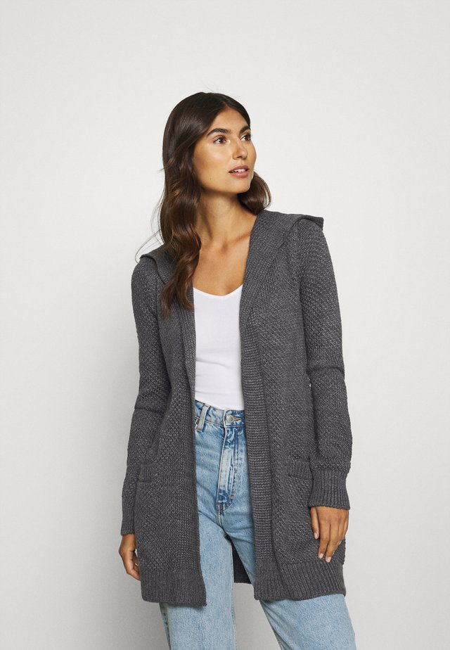 HOODED CARDIGAN - Cardigan - dark grey melange