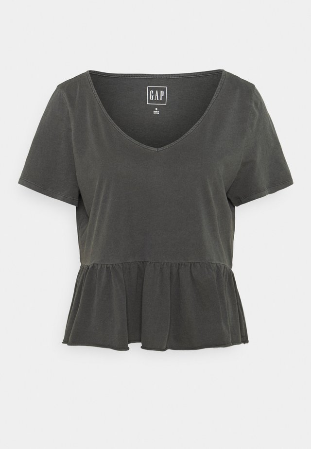 VINT PEPLUM - T-Shirt print - soft black