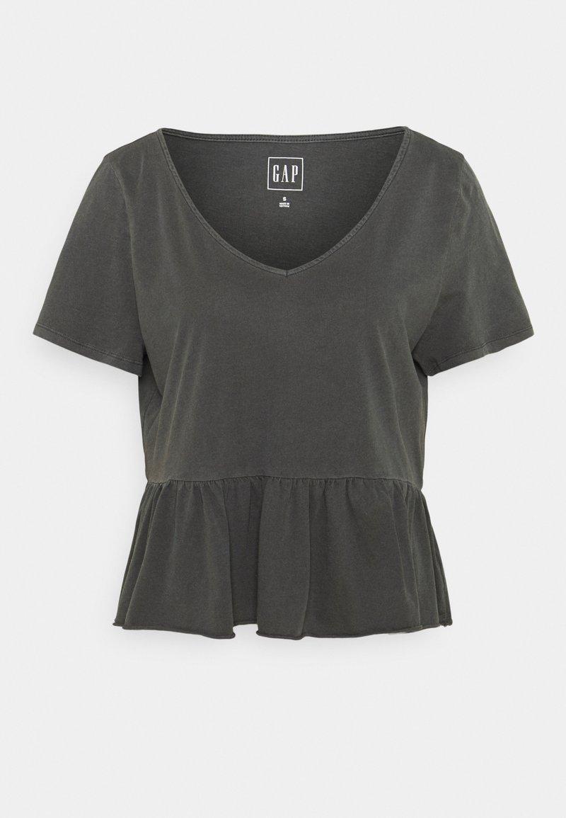 GAP - VINT PEPLUM - T-shirt med print - soft black