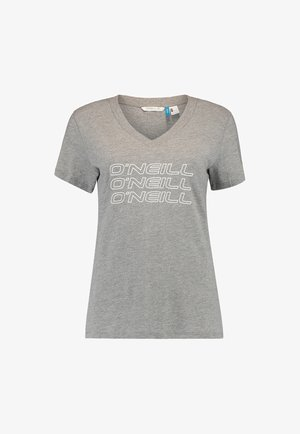 TEES S/SLV TRIPLE STACK V-NECK  - Print T-shirt - silver melee