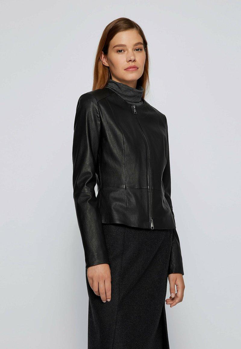 BOSS - SANOA - Leather jacket - black