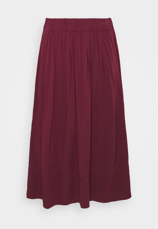 KIA MIDI - Plisovaná sukně - dark red