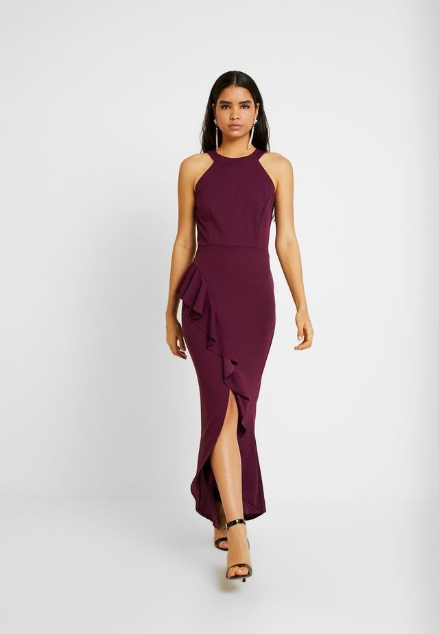 HALTER NECK SPLIT FRILL DRESS - Suknia balowa - raspbery