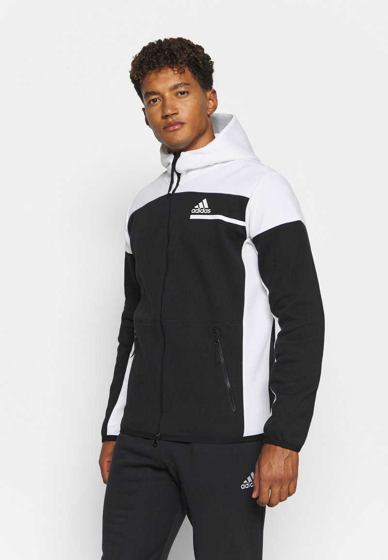 adidas Performance - HOODIE PRIMEGREEN HOODED TRACK TOP - Zip-up hoodie - black/white