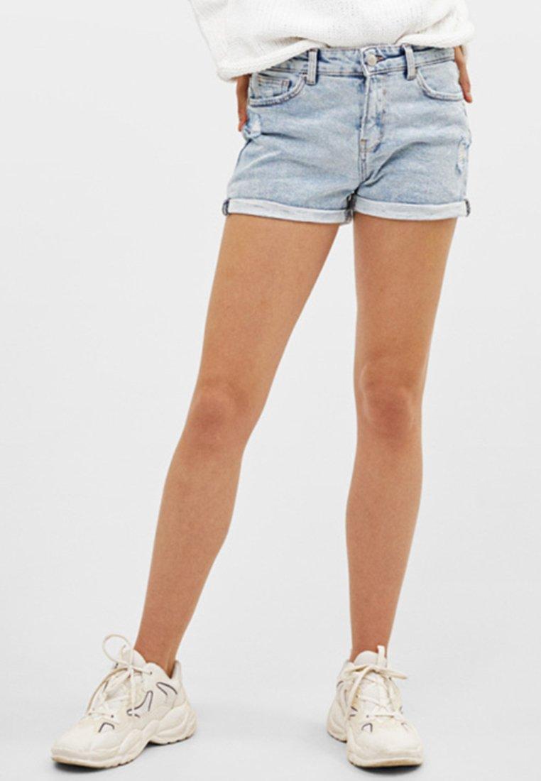 Bershka - Denim shorts - dark blue