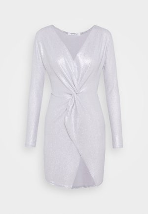 TWIST FRONT MINI DRESS WITH LONG SLEEVES PLUNGING NECKLINE - Cocktailkjoler / festkjoler - silver