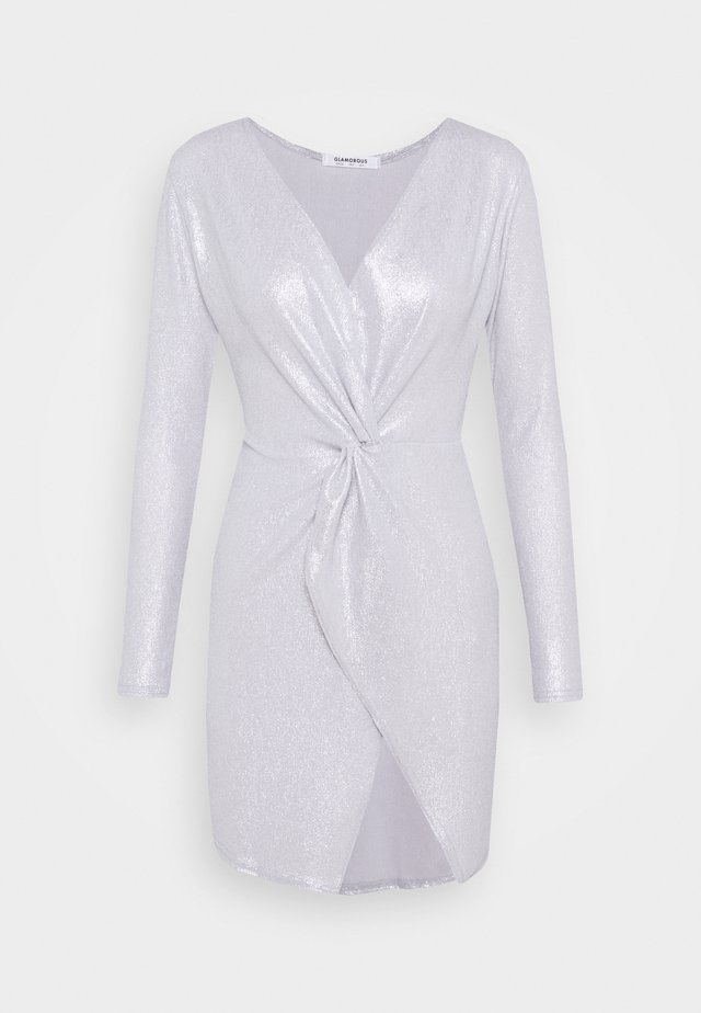 TWIST FRONT MINI DRESS WITH LONG SLEEVES PLUNGING NECKLINE - Sukienka koktajlowa - silver