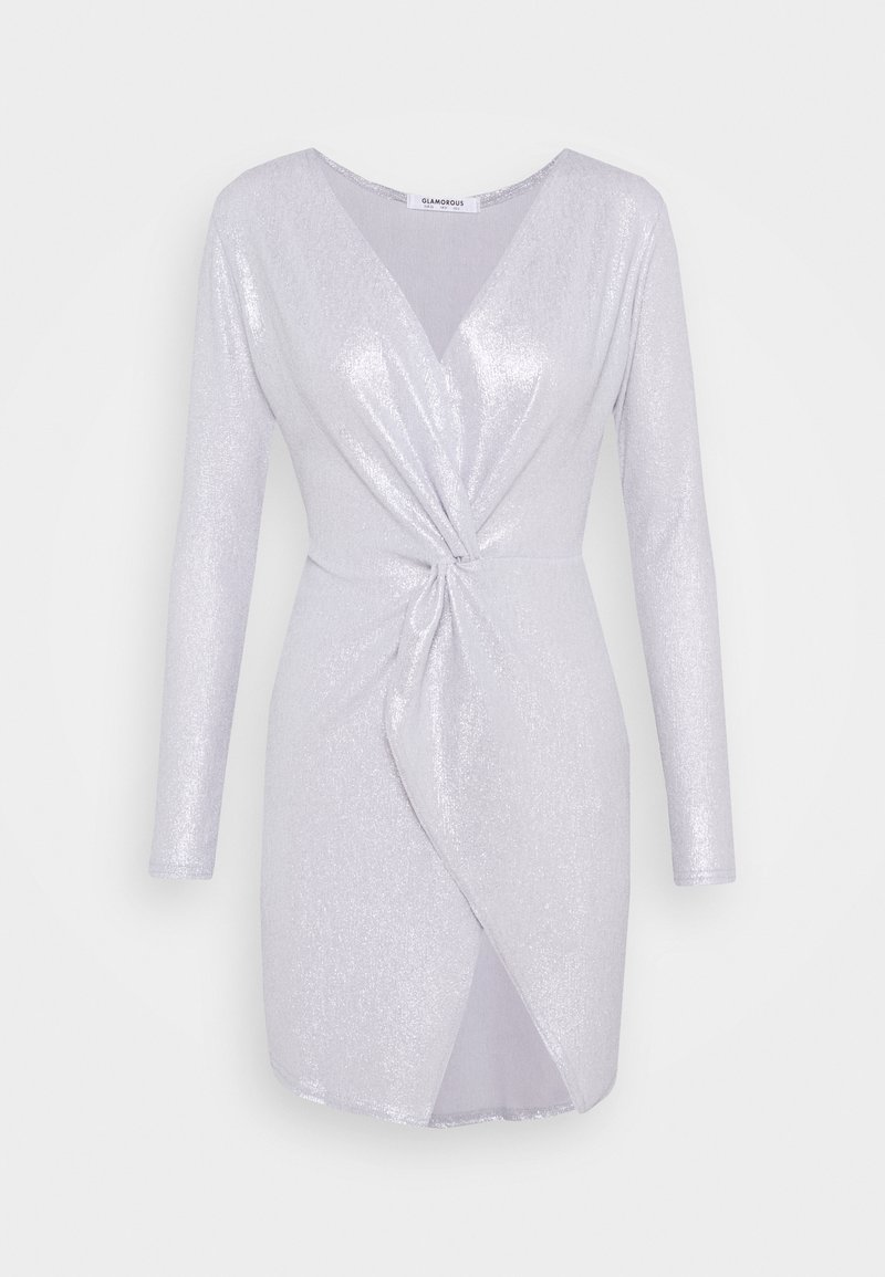 Glamorous - TWIST FRONT MINI DRESS WITH LONG SLEEVES PLUNGING NECKLINE - Cocktail dress / Party dress - silver
