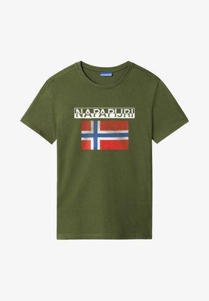 S-SURF FLAG - Print T-shirt - green cypress