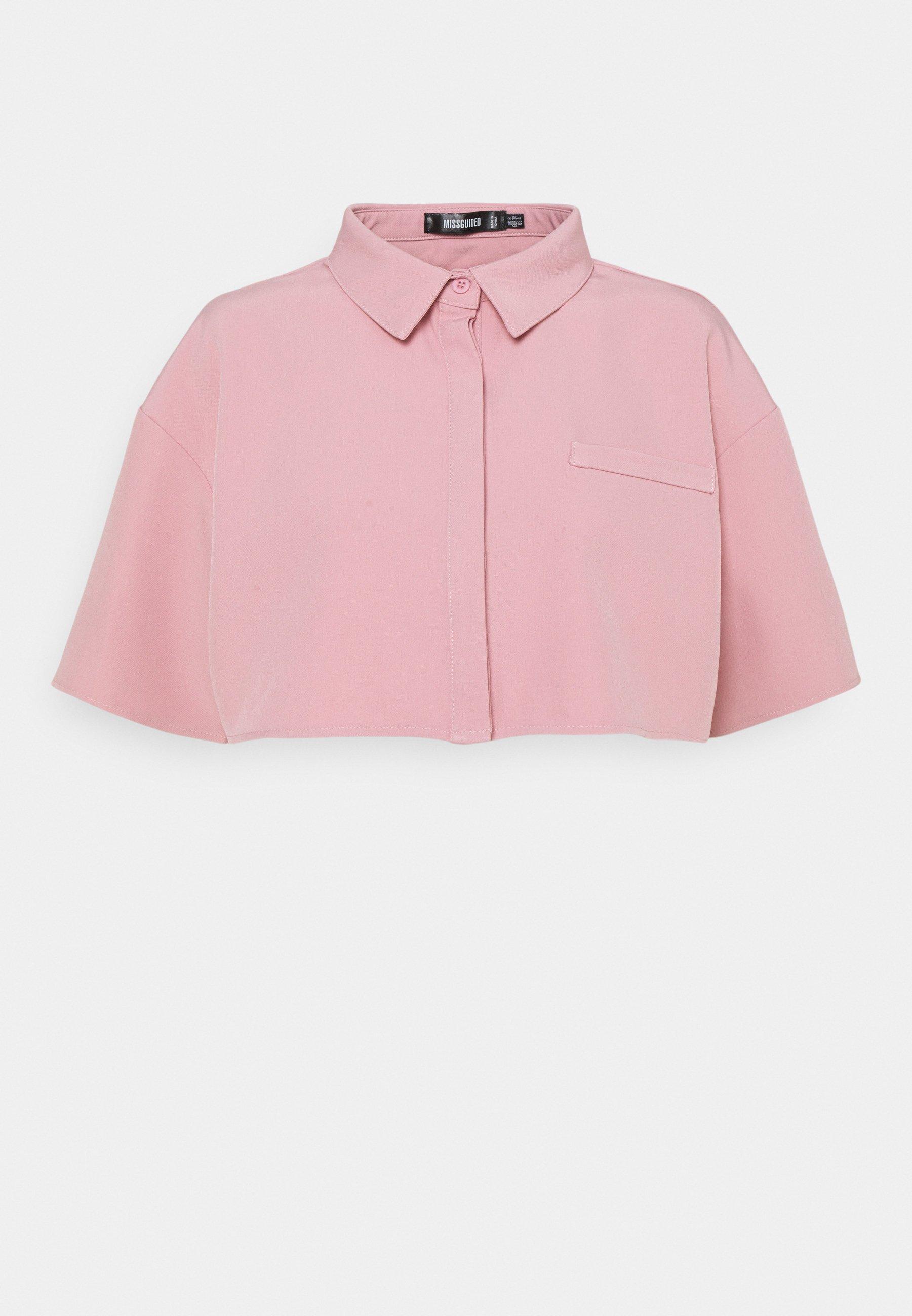 Women CROPPED SINGLE POCKET SHIRT - Button-down blouse