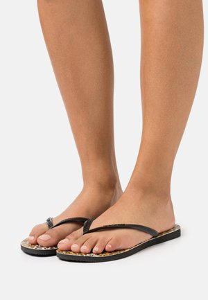 SLIM FIT LEOPARD - T-bar sandals - black