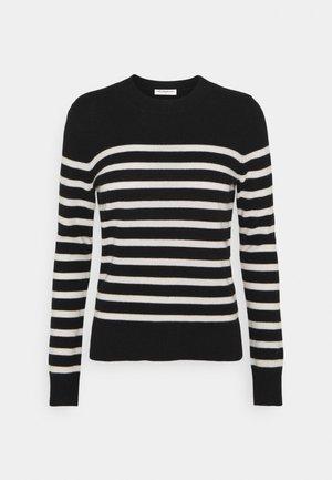 STRIPE CREW NECK - Pullover - black