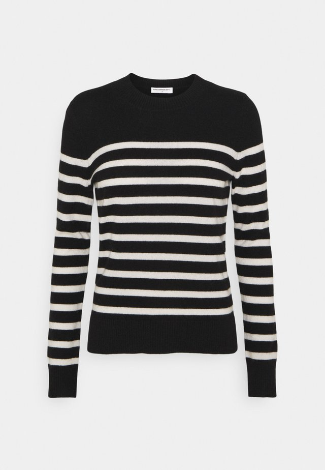 STRIPE CREW NECK - Pullover - black