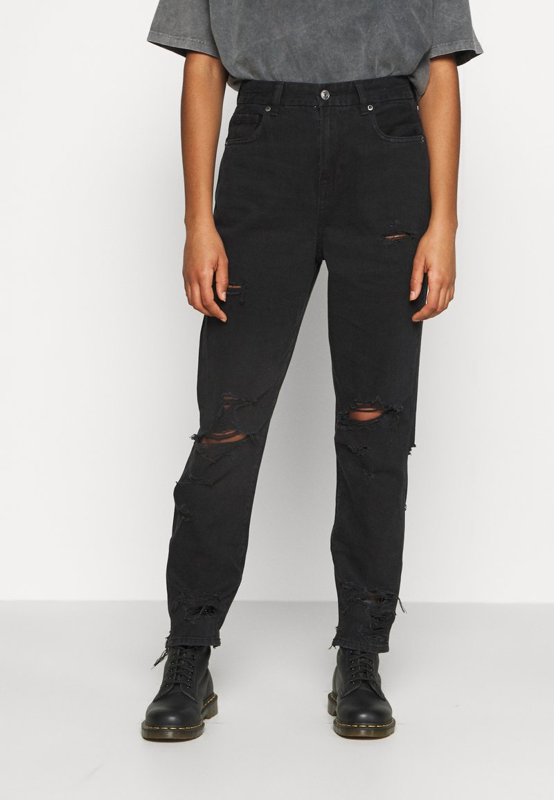 American Eagle - CURVY MOM  - Slim fit jeans - destroyed black