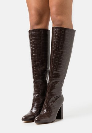KARMA KNEE HIGH CROC  - High heeled boots - choc
