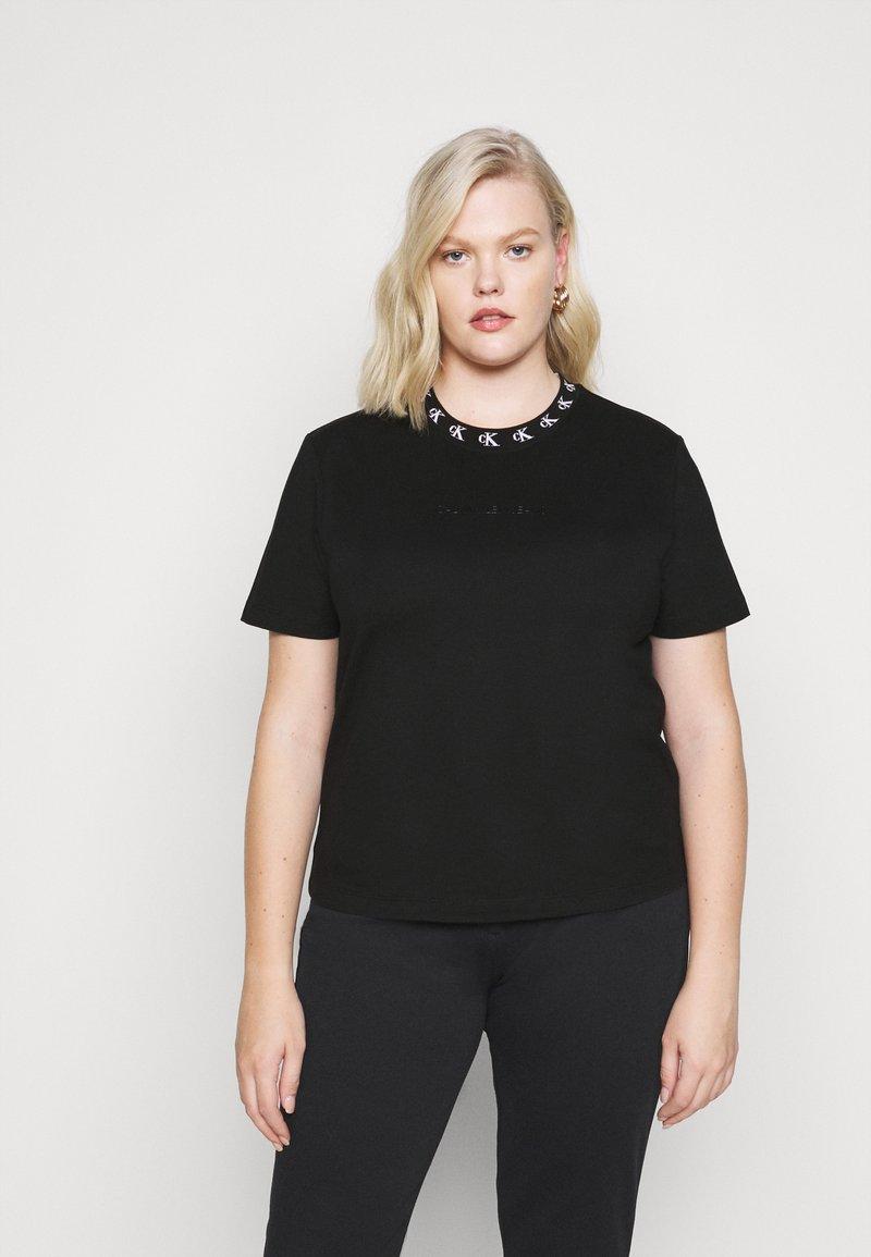 Calvin Klein Jeans Plus - PLUS LOGO TRIM TEE - Print T-shirt - black