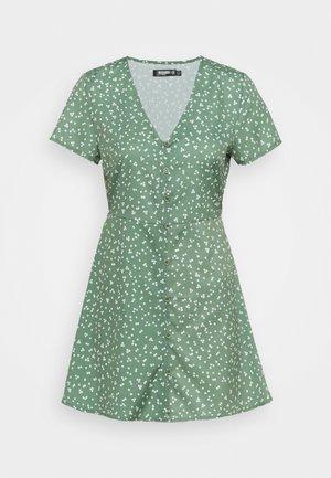 BUTTON THROUGH TEA DRESS DITSY - Jurk - green