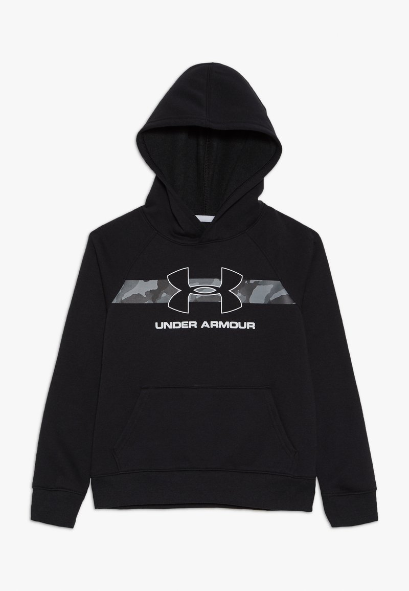 Under Armour - RIVAL HOODY - Hoodie - black /white