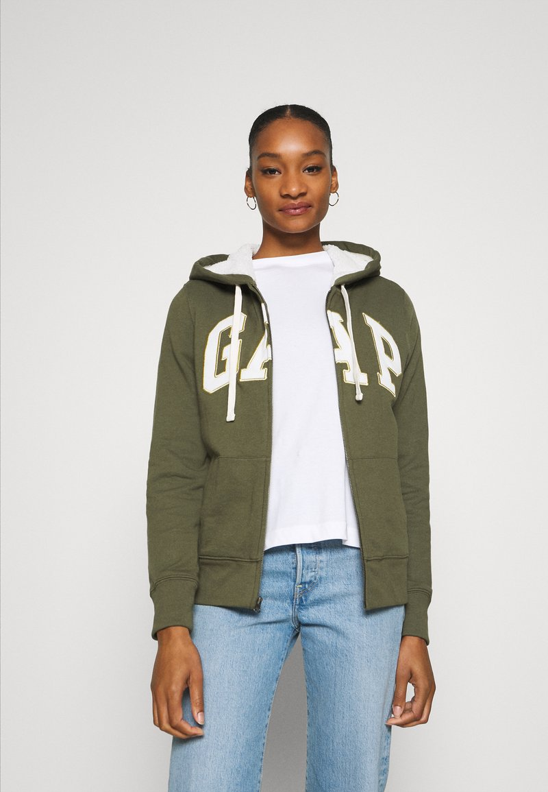 GAP - Zip-up hoodie - army green