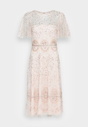 BEADED FLUTTER DRESS - Vestito elegante - pale pink