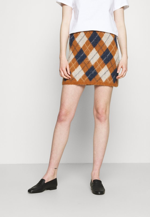 ARGYLE SKIRT - Minirock - tan/navy/off white