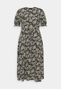 Missguided Plus - SHORT SLEEVE PUFF MIDAXI SMOCK DRESS - Denní šaty - black - 0
