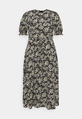 SHORT SLEEVE PUFF MIDAXI SMOCK DRESS - Robe d'été - black