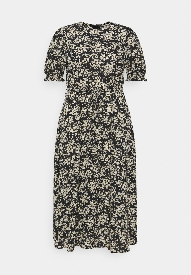 Missguided Plus - SHORT SLEEVE PUFF MIDAXI SMOCK DRESS - Denní šaty - black