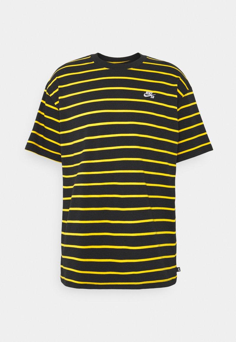 Nike SB - STRIP TEE UNISEX - Print T-shirt - black/university gold