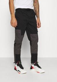 Topman - BELTED CARGO - Cargo trousers - black - 0