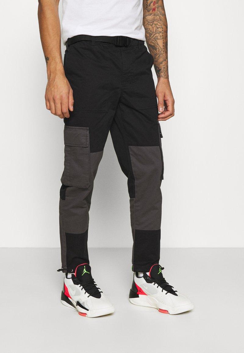 Topman - BELTED CARGO - Cargo trousers - black