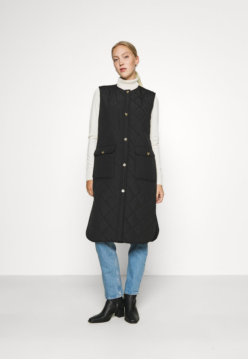 ONLY - ONLNAYRA LONG QUILT VEST - Waistcoat - black
